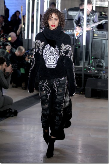 NEW YORK, NY - FEBRUARY 13:  A model walks the runway wearing look # 40 for the Philipp Plein Fall/Winter 2017/2018 Women's And Men's Fashion Show at The New York Public Library on February 13, 2017 in New York City.  (Photo by Thomas Concordia/Getty Images for Philipp Plein)