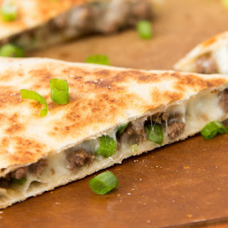 Korean Beef and Kimchi Quesadillas.