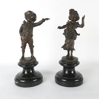 Victor Seifert Pierrot & Pierrtte Bronze Statues