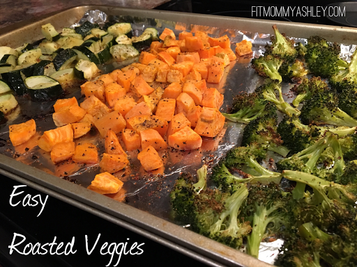 whole 30, veggies, pan, roasted, oven, clean, easy, healthy, sweet potato, broccoli, zucchini