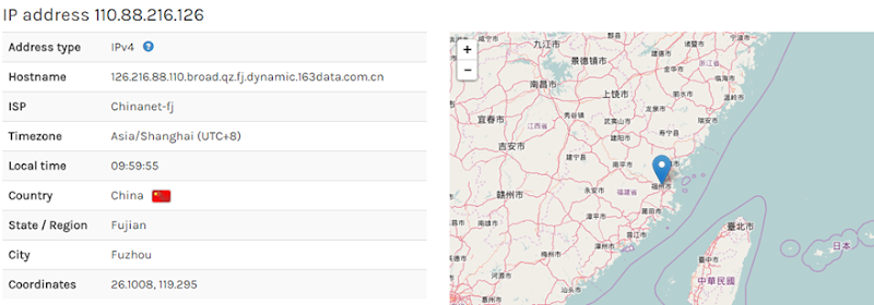 Sheila's IP address is in China