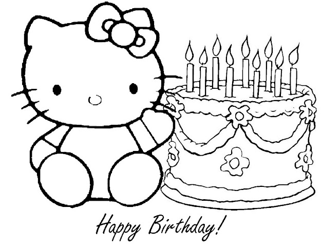 Hello Kitty Birthday Coloring Pages  Free Printable Happy Birthday Coloring  Pages For Kids