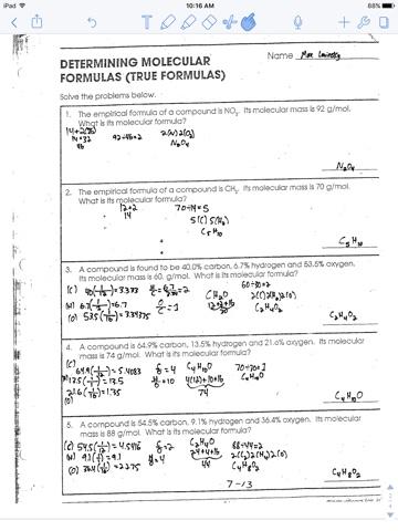 Determining Molecular Formula Worksheet Worksheet List