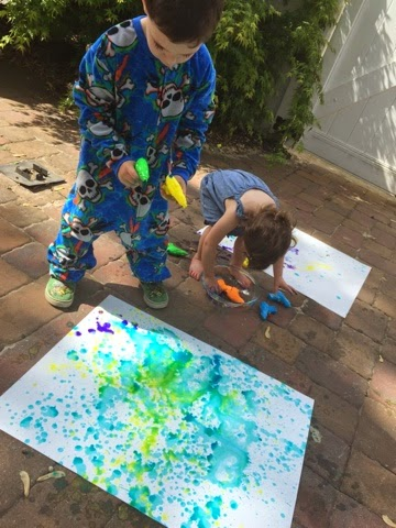 Painting Outdoors With Water Guns Views From A Step Stool