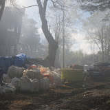 20 April 2012 -The scene of the devastating fire at a four-storey property still under construction on Green Island. Photo: RNLI/Poole Lifeboat Station