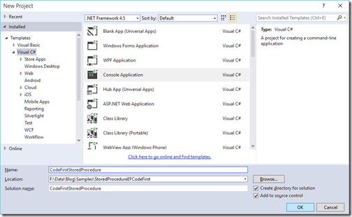 console-application-ef-code-first-stored-procedure