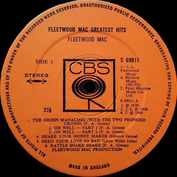 Alkuperäinen etiketti: Fleetwood Mac - Greatest Hits