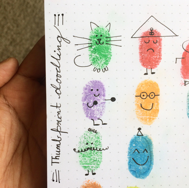 #100DaysOfDoodles   Day 12   Ed Emberley's Thumbprint Art   The 100 Day Project
