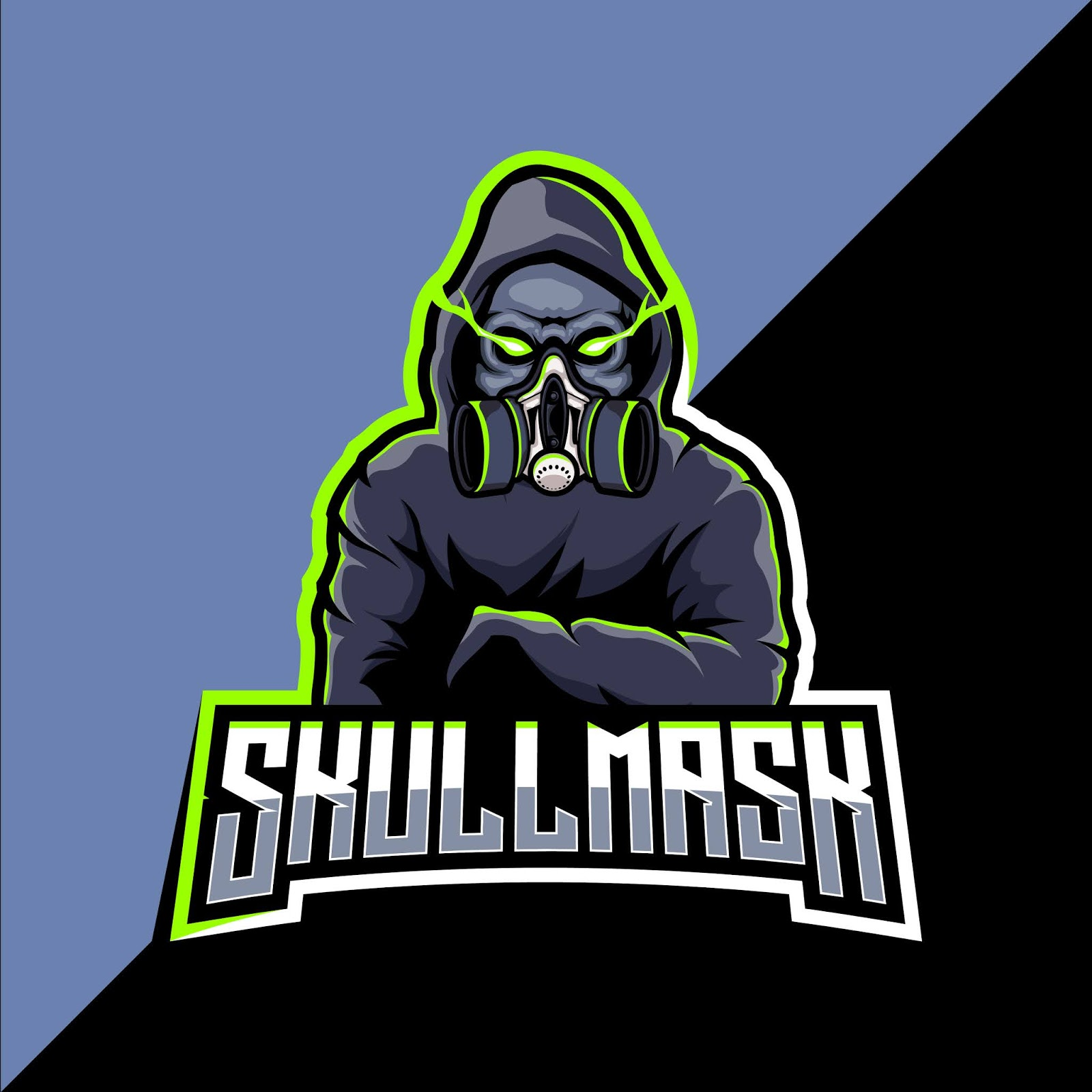 Skull With Gas Mask Mascot Esport Logo Design Free Download Vector CDR, AI, EPS and PNG Formats