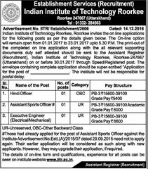 IIT Roorkee Advertisement 2017
