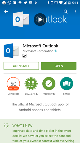 MS Outlook untuk Android di Google Play Store