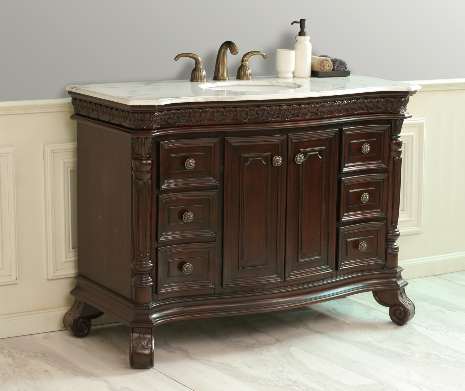 Traditional 48 Single Sink Bathroom Vanity Set With White Marble Top Ebay