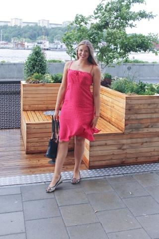 Swedish girl fashionista red dress