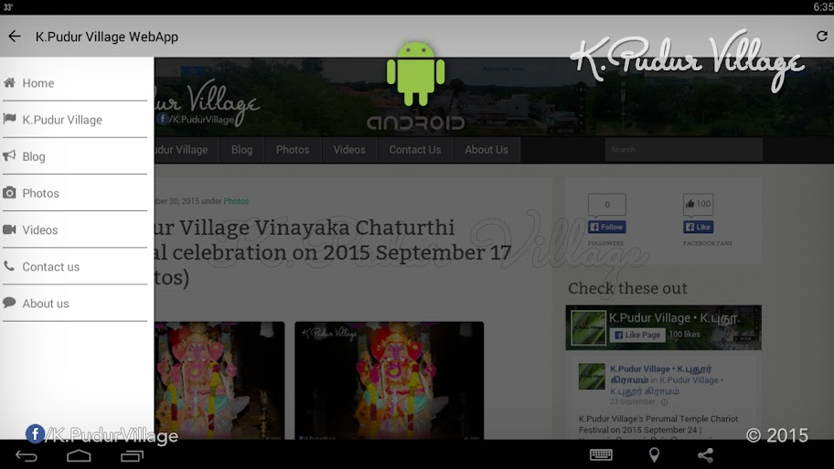 K.Pudur Village WebApp 2015 v1.0 (K.Pudur Village WebApp v1.0 Side navigation Screenshot)