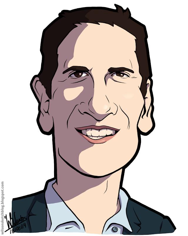 Cartoon caricature of Mark Cuban.