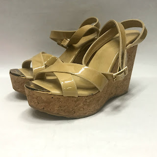 Jimmy Choo Patent Leather Beige Cork Wedges