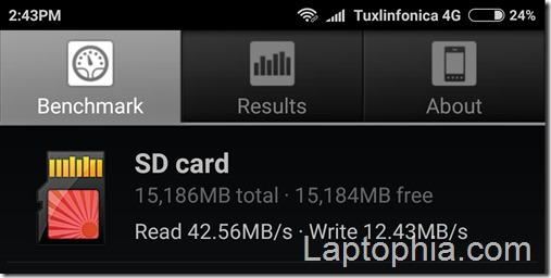 Benchmark Sandisk Ultra 16GB MicroSDHC