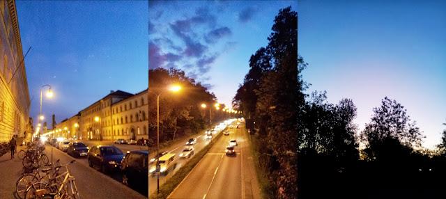 Abendstimmung in der Stadt: vor der Stabi, am mittleren Ring und im englischen Garten.