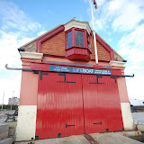 The double doors at the back of Poole Old Lifeboat Museum, and the top of the slipway - this is where the boats used to launch from