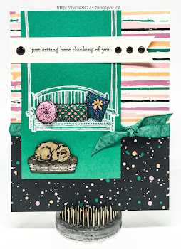 Linda Vich Creates: Just Sitting Here. Puffy pillows on a porch swing with a dog at your feet–what could be better than Stampin' Up's Sitting There stamp set paired with Playful Palette DSP?