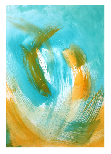 blue orange 2 - 22x30 - Acrylic on paper.  Artist Manny Martins-Karman