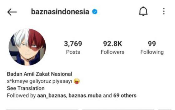 Akun Instagram Baznas Diretas, Profile Photo Diubah jadi Gambar Anime