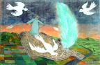 212 - Le passeur de mots - 2008 91 x 61 - Acrylique, or sur verre