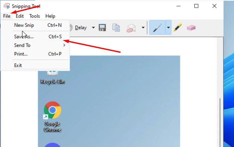 Click on File and then Save as to Screenshot