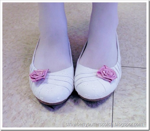 Ribbon rose shoe clips to match a pink Easter dress.