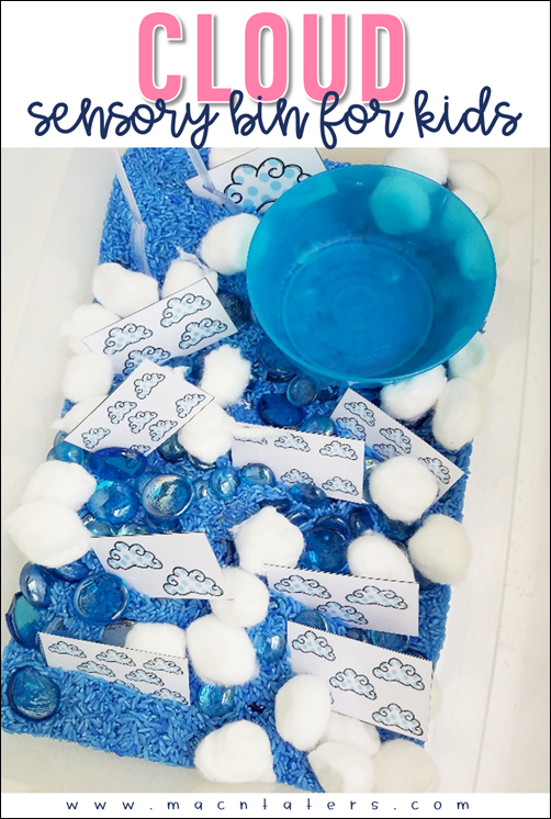 Cloud themed Sensory Bins for Toddlers, Preschoolers and school aged children.