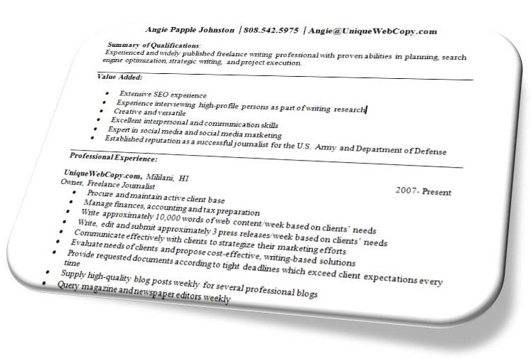 freelance writer resumes - Freelance Writer Resume Sample