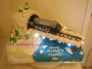 Christmas train custom boy's birthday cake with real ights