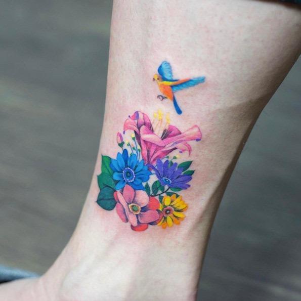 este_colorido_floral_tornozelo_peça