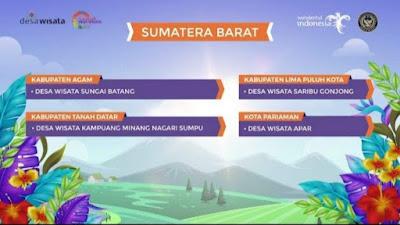 4 Desa Wisata di Sumbar Masuk 50 Besar Anugerah Desa Wisata Indonesia 2021