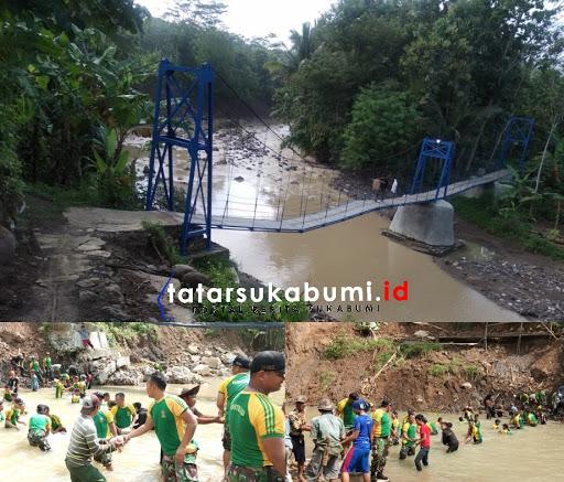 Jembatan Gantung di Bantargadung rusak tersapu banjir // Foto : Isep Panji
