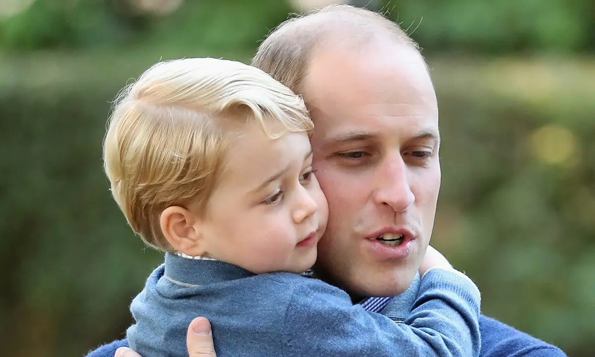 Prince William has the sweetest picture of his Son and Prince Philip in his office