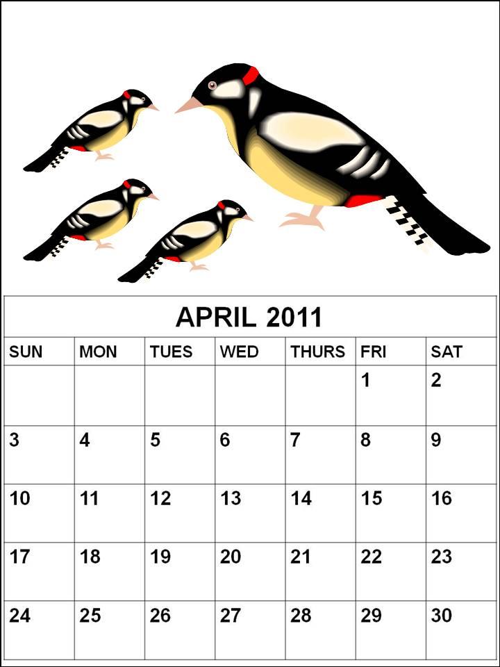 calendars 2011 april. calendar april 2011 cute.