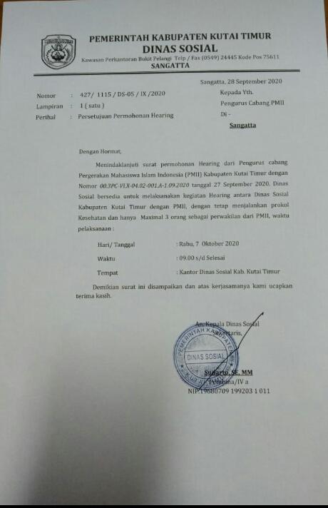 Dinsos Kutim Mangkir, PMII Batal Audiensi Bansos Covid-19