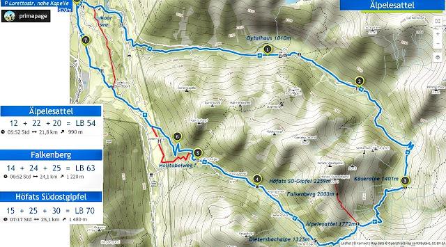 Plan Rundstrecke Oberstdorf Oytal Älpelesattel Gerstrubental mit Varianten Abstecher zum Falkenberg, Höfats und Hölltobelweg