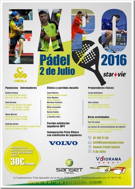 ExpoPádel en Sanset Pádel Club el 2 de julio 2016: actividades con mucho pádel para todos.