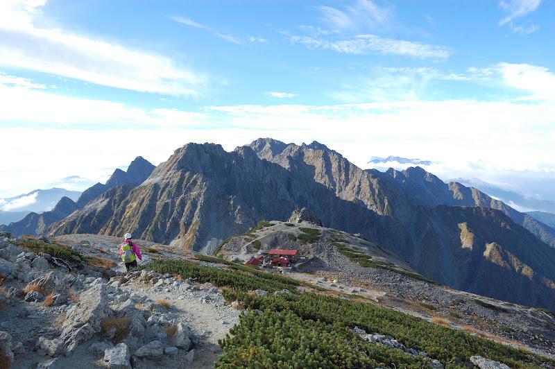 南岳小屋とその先にはついに大キレットと北穂高岳が