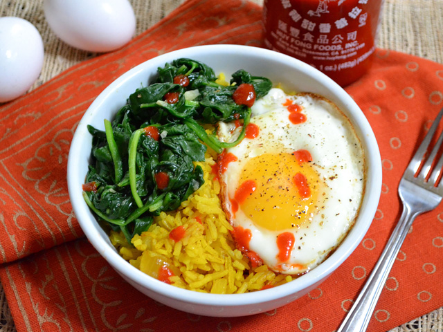 sriracha golden rice bowls