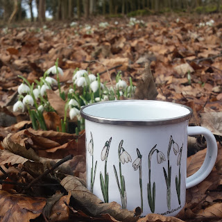 Snowdrop Enamel Mug by Alice Draws The Line