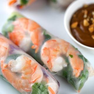 Fresh Shrimp Spring Rolls with Peanut Dipping Sauce.