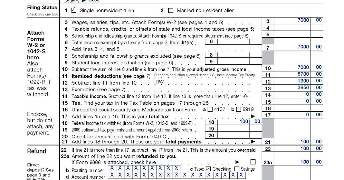Share 4 Fun: Sample Federal tax returns for students on F-1/OPT ...