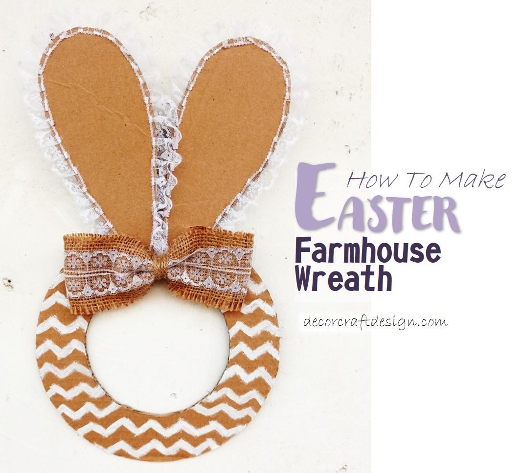 diy farmhouse easter bunny wreath