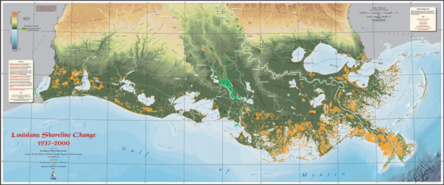 Louisiana shoreline change, 1937–2000. Orange areas represent land lost. Graphic: Louisiana Geological Survey