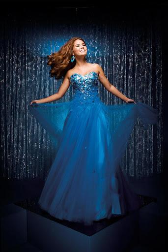 Abendkleider Terter glänzenden blauen Farbe