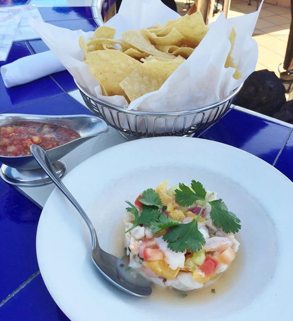 las brisas laguna beach - ceviche de pescado - chips salsa