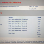 my PADI exam results online courses in Key Largo, Florida, United States